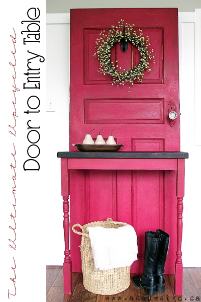 Door entry table or hall tree, by AKA Design, featured on http://www.funkyjunkinteriors.net/
