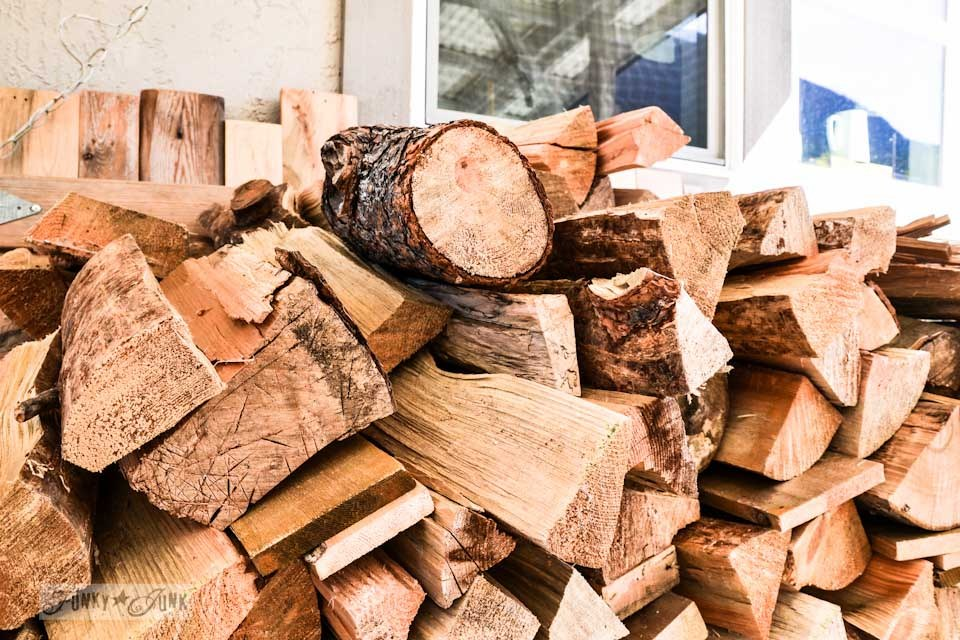 Stacked pine firewood, part of The first cozy fireplace fire of the season via https://www.funkyjunkinteriors.net/
