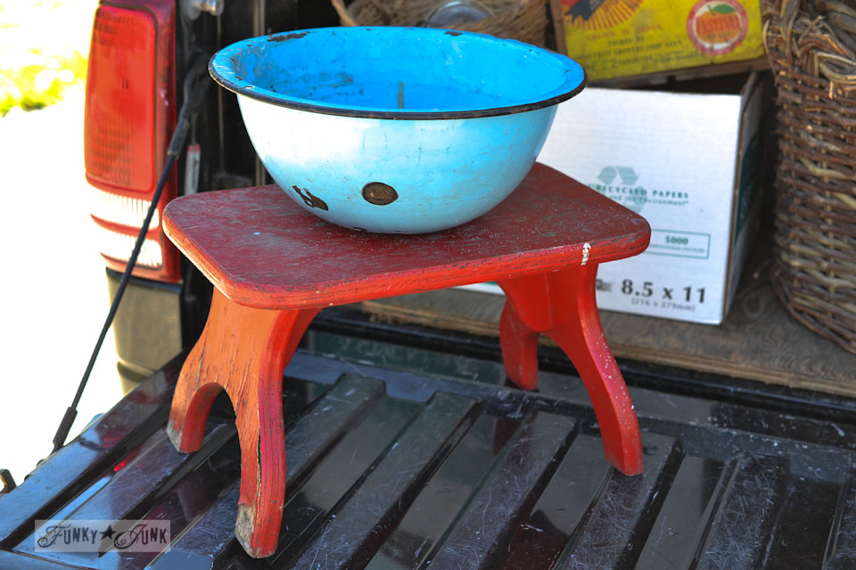 Blue enamel bowl, red stool - When a junker's junker brother has a garage sale, via Funky Junk Interiors
