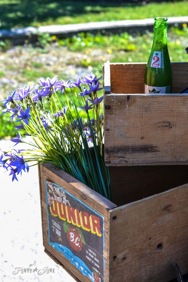 Vintage crates - When a junker's junker brother has a garage sale, via Funky Junk Interiors