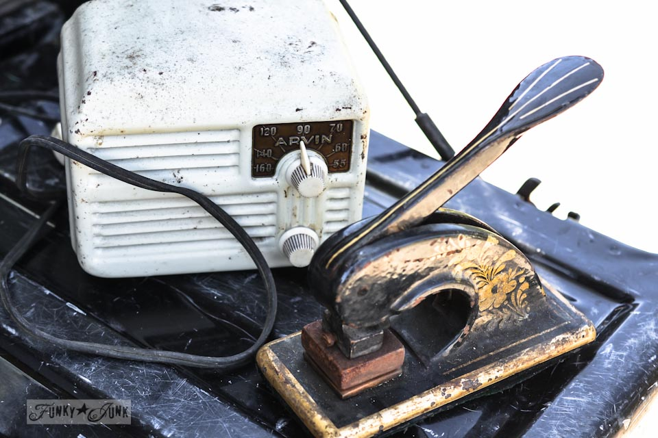 Vintage radio and seal press - When a junker's junker brother has a garage sale, via Funky Junk Interiors