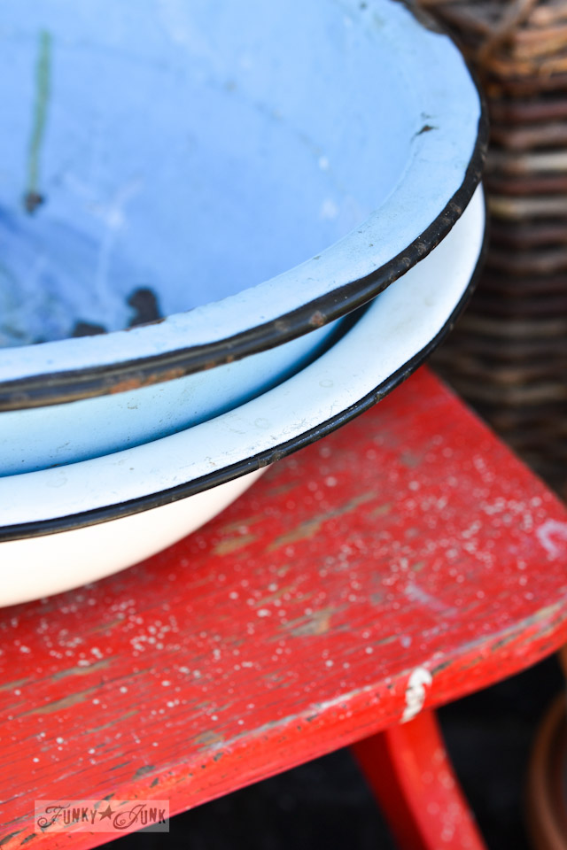 Enamel bowls and red stool - When a junker's junker brother has a garage sale, via Funky Junk Interiors