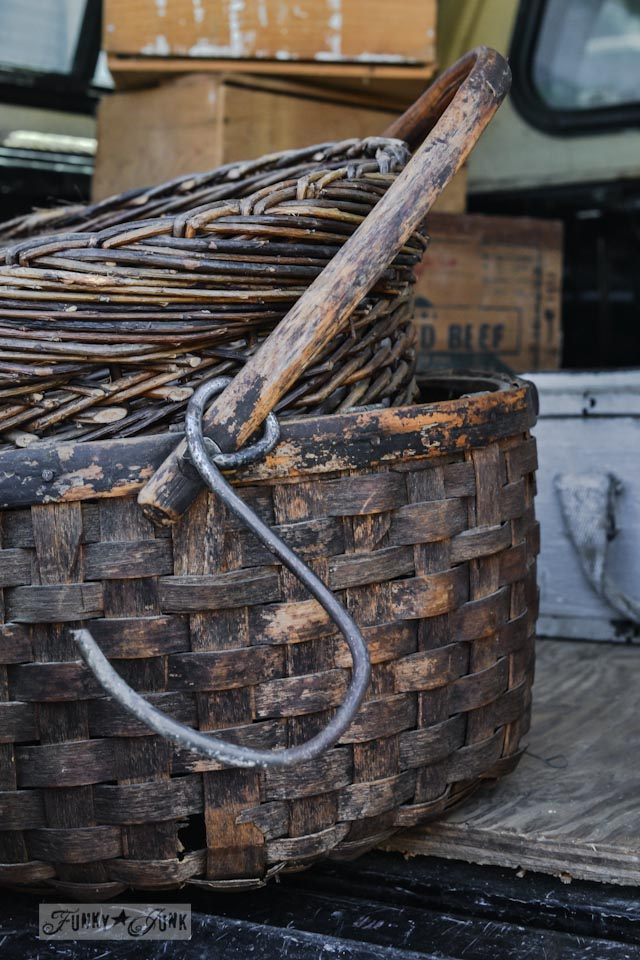 Rustic hand woven baskets - When a junker's junker brother has a garage sale, via Funky Junk Interiors