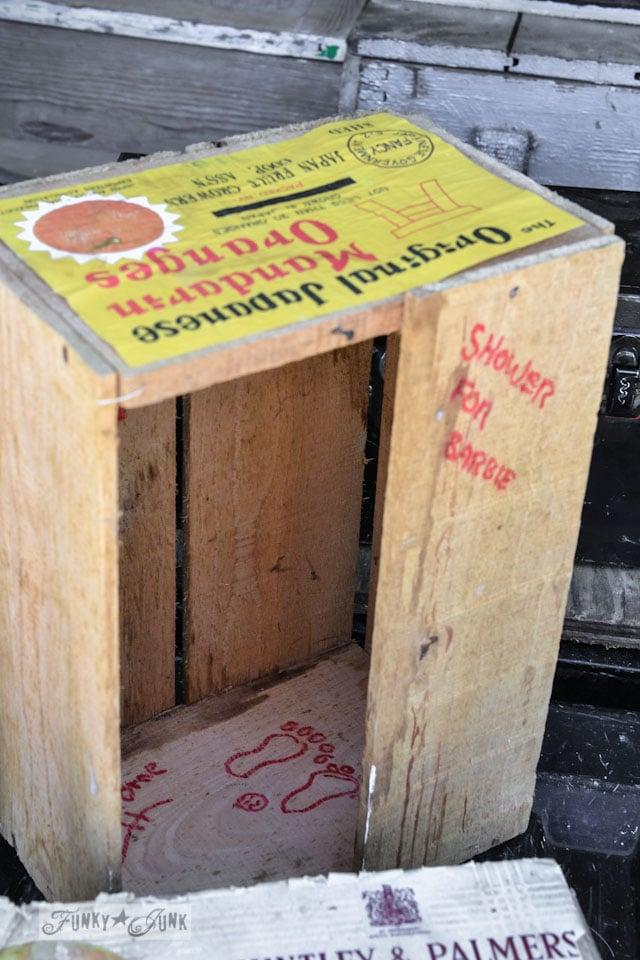 Orange crate barbie shower - When a junker's junker brother has a garage sale, via Funky Junk Interiors