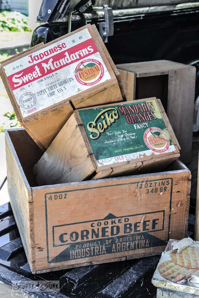 Vintage orange crates with labels - When a junker's junker brother has a garage sale, via Funky Junk Interiors