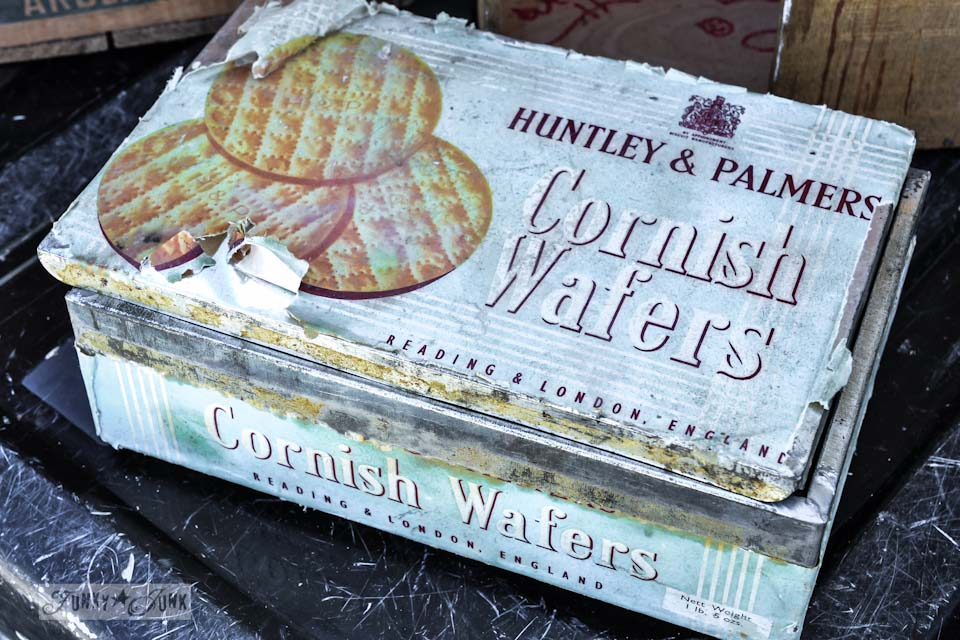 Huntley and Palmers Cornish Wafers vintage tin - When a junker's junker brother has a garage sale, via Funky Junk Interiors