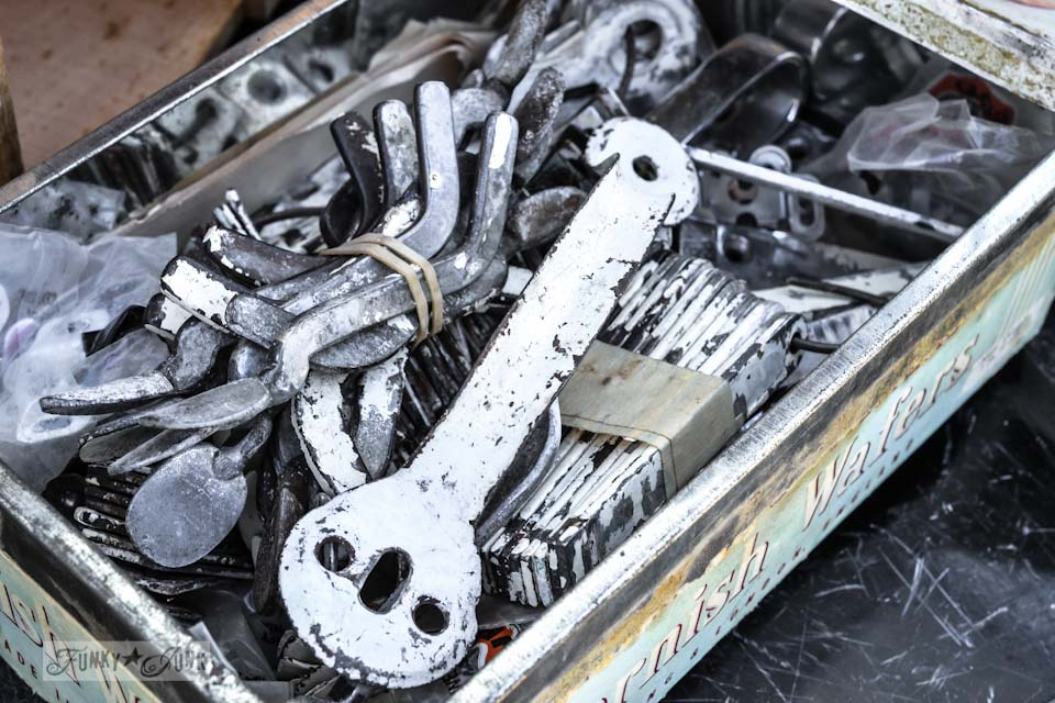 Chippy white gate hardware - When a junker's junker brother has a garage sale, via Funky Junk Interiors