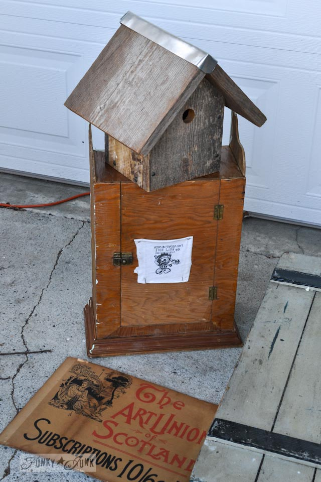Barnwood birdhouse and old cupboard - When a junker's junker brother has a garage sale, via Funky Junk Interiors
