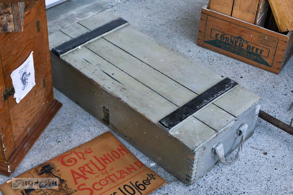Old crate shelf - When a junker's junker brother has a garage sale, via Funky Junk Interiors
