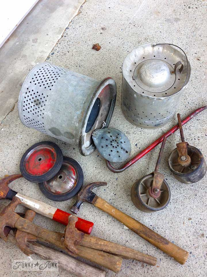 Bait buckets, rusty hammers, old red wheels and other cool junk finds