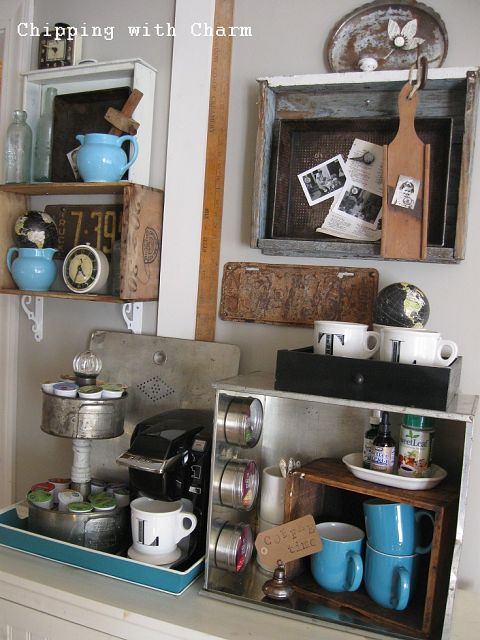 Old crates and drawers junk styled coffee station by Chipping with Charm, featured on Funky Junk Interiors
