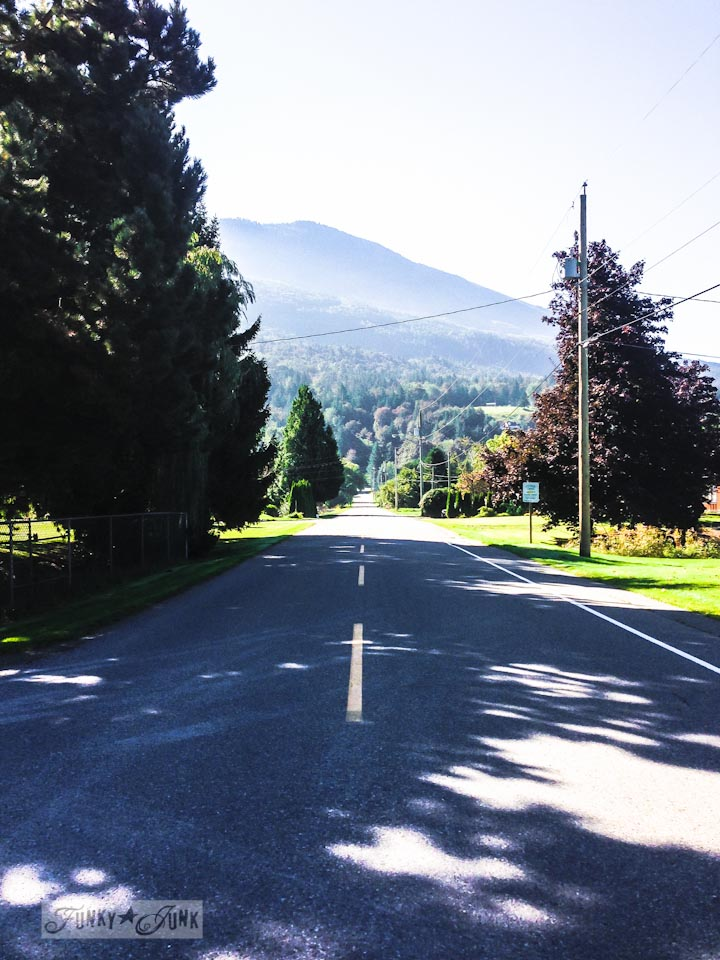 Residential road with mountain view, part of Walks and Dinner that the River, via : https://www.funkyjunkinteriors.net/