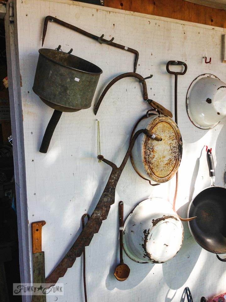 White enamel pans and rusty tool antiques in Enderby - part of Summer Adventure 7 / sights, miracles and lessons learned via Funky Junk Interiors
