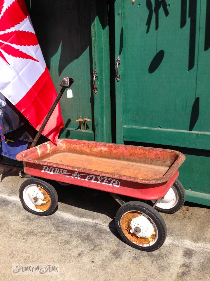 Antique Radio Flyer red wagon in Enderby - part of Summer Adventure 7 / sights, miracles and lessons learned via Funky Junk Interiors