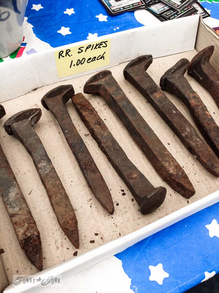 Rusty railroad spikes for sale in Enderby - part of Summer Adventure 7 / sights, miracles and lessons learned via Funky Junk Interiors