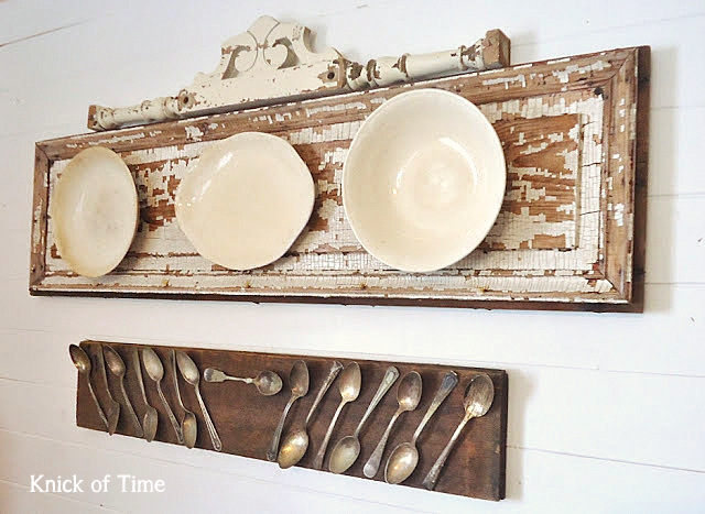 Old door plate wall display by Knick of Time, featured on https://www.funkyjunkinteriors.net/