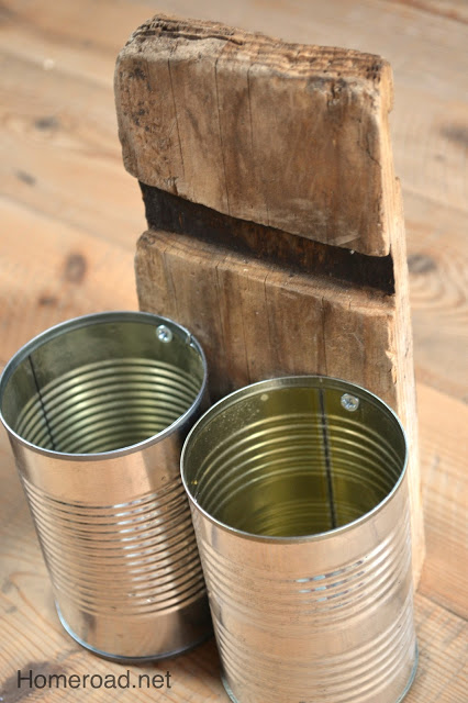 Rustic recycled tin can pen organizer by Home Road