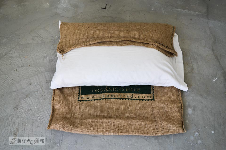 How to make a rustic burlap pillowcase via https://www.funkyjunkinteriors.net/