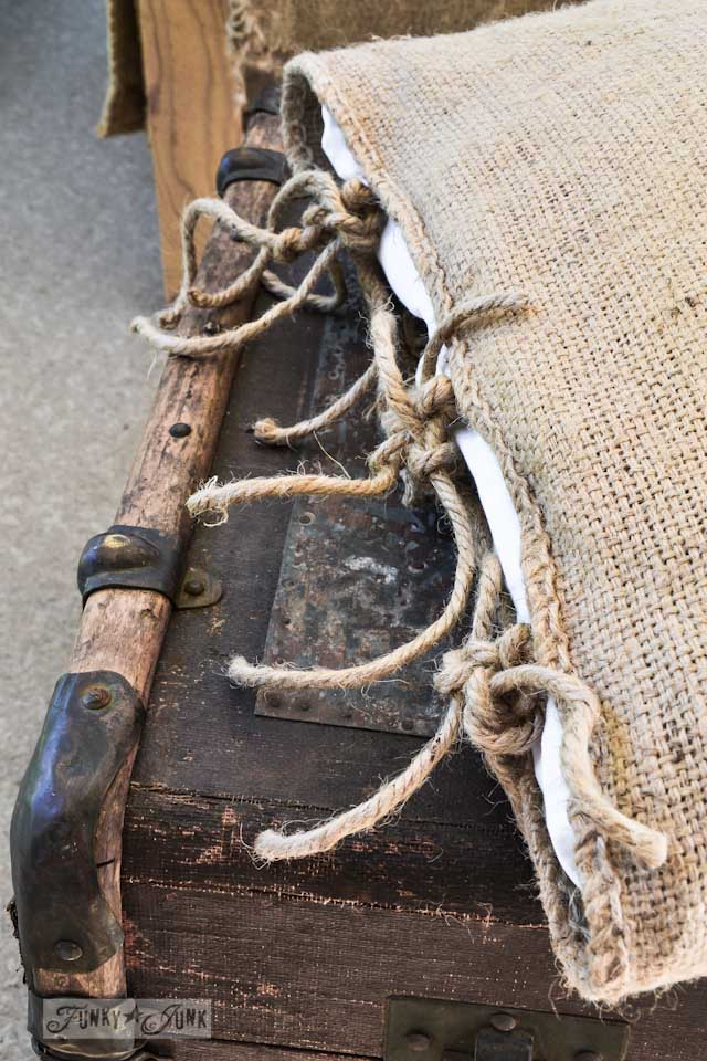 How to make twine ties to a burlap pillow case, part of an old trunk ottoman
