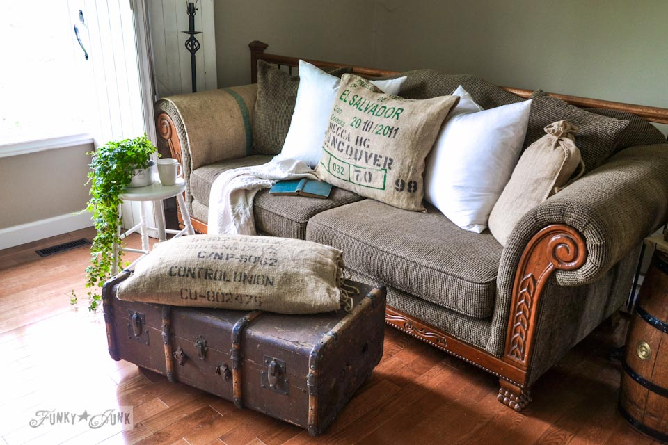 Burlap Coffee Bean Sack Sofa And Ottoman Pillows... Instantly! Via Http: