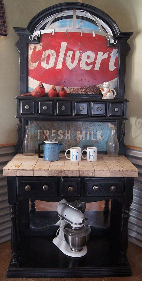 Upcycled bakers rack with old signs coffee station, by Repurposed Life, featured on Funky Junk Interiors