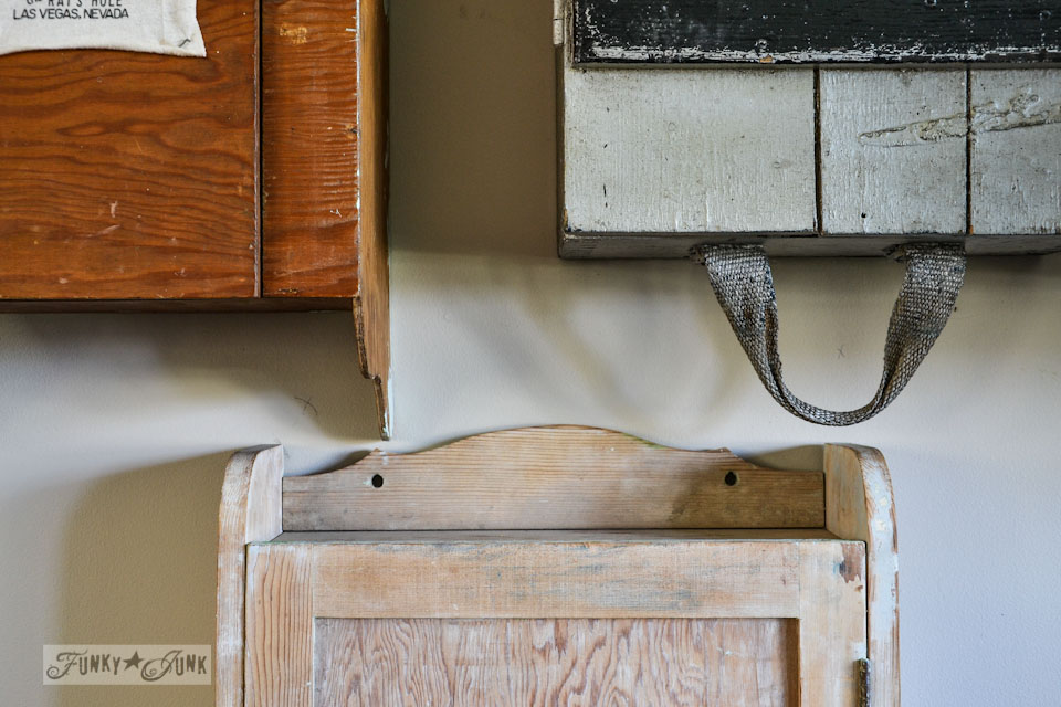 3 old wooden wall cabinets - part of a funky wall cabinet gallery reveal via : https://www.funkyjunkinteriors.net/