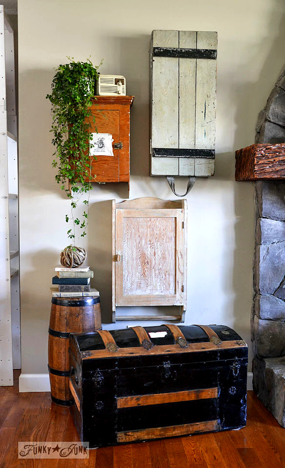 A funky wall cabinet gallery - hide the clutter in true salvaged style! via : http://www.funkyjunkinteriors.net/