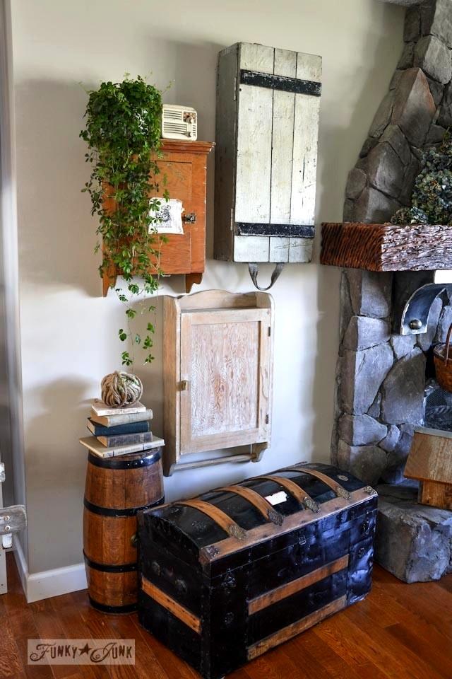 A funky wall cabinet gallery - hide the clutter in true salvaged style! via : https://www.funkyjunkinteriors.net/