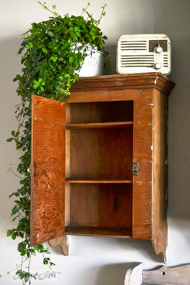 Vintage wooden cabinet for wall storage - part of a funky wall cabinet gallery reveal via : https://www.funkyjunkinteriors.net/