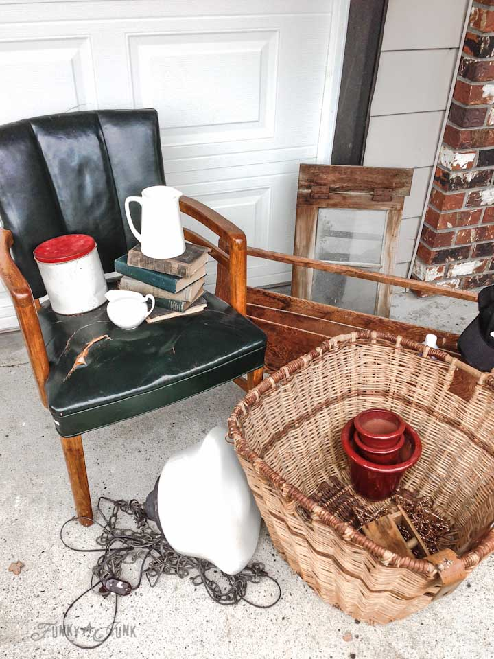 Old leather chair, schoolhouse light  and other junk finds from a dreamy garage sale in a dream shop