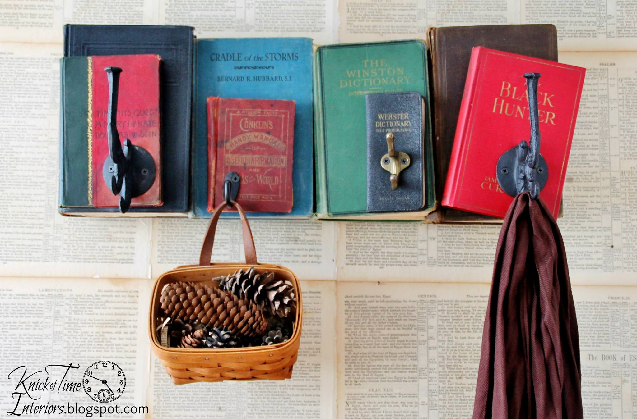 Vintage book hooks by Knick of Time Interiors featured on Funky Junk Interiors