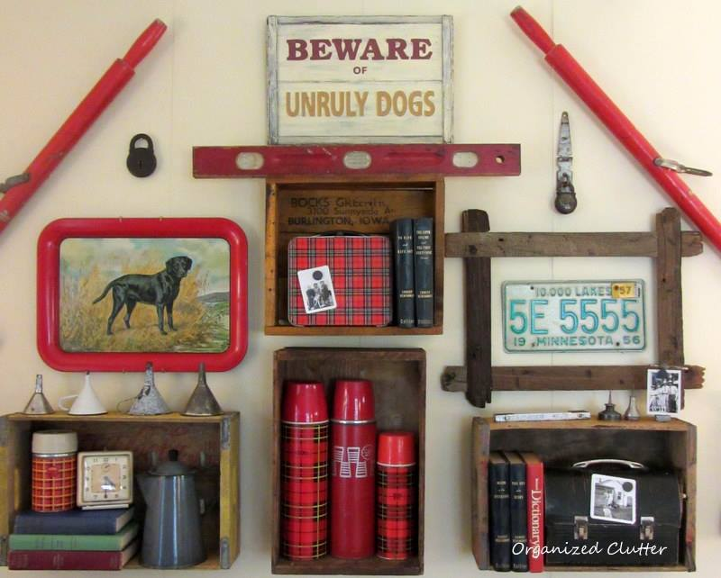 Junk wall art gallery by Organized Clutter featured on Funky Junk Interiors