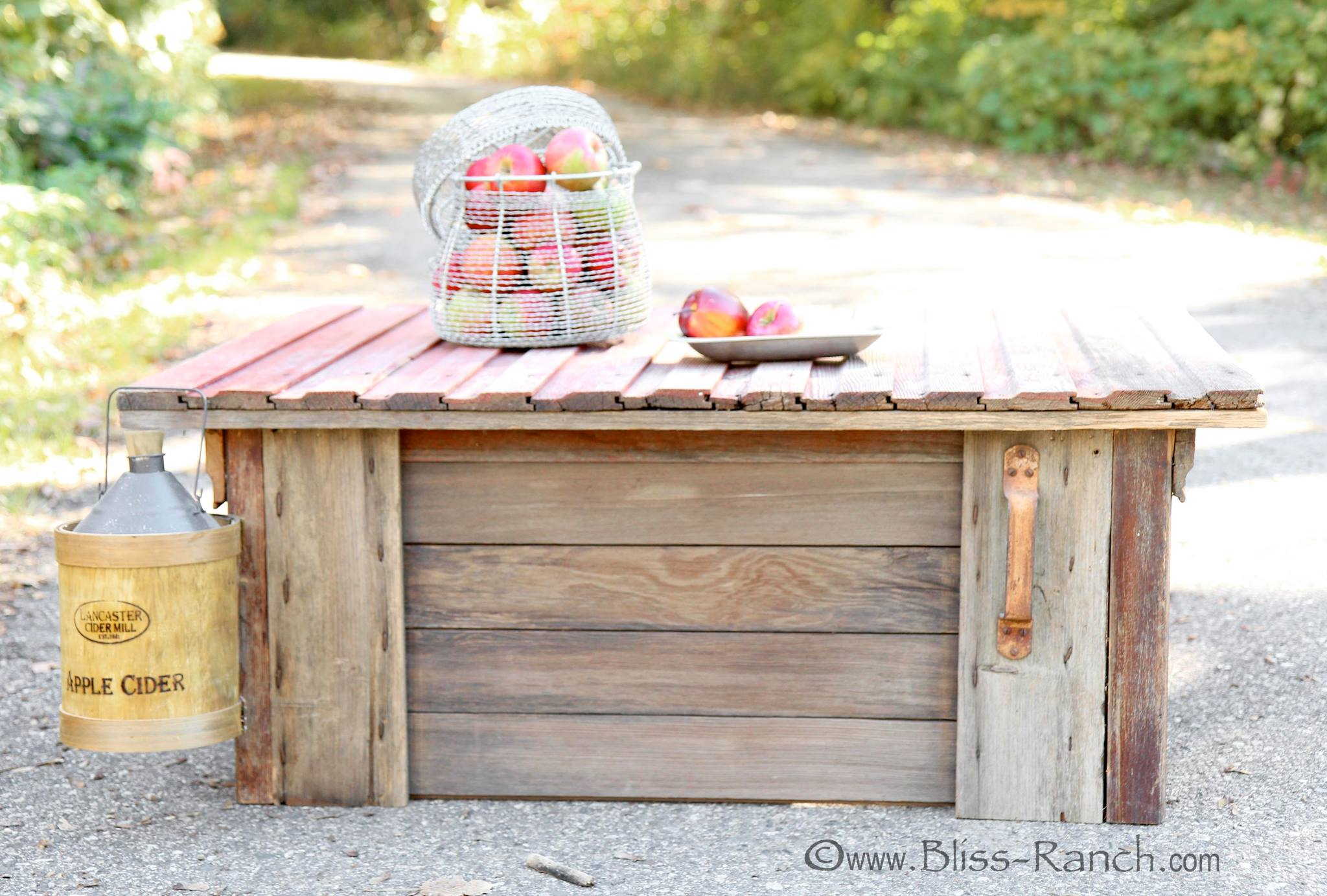 Barn door coffee table by Bliss Ranch featured on Funky Junk Interiors