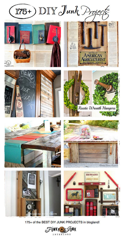 175+ DIY Junk Projects - some of the best junk in blogland! Come link up or just be inspired! via https://www.funkyjunkinteriors.net/