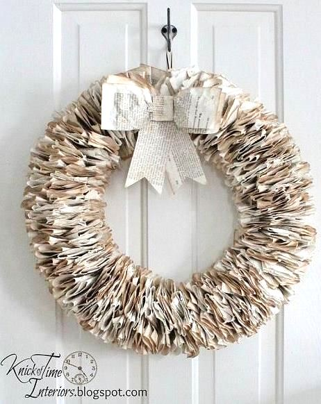 Book page wreath by Knick of Time Interiors