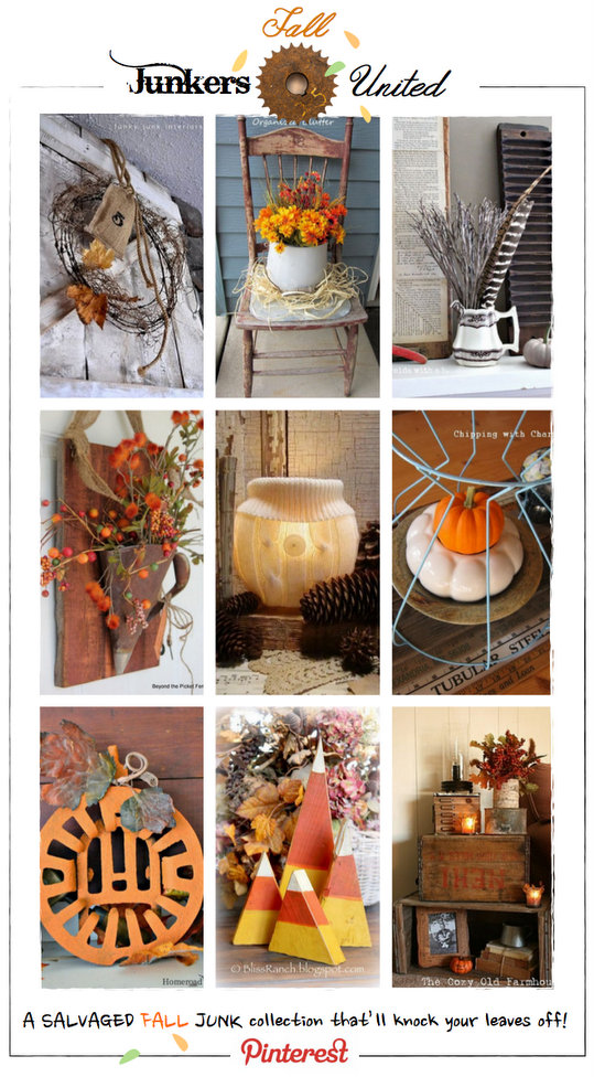 Fall Junkers United - a Pinterest pin board of the best fall junk in blogland via https://www.funkyjunkinteriors.net/