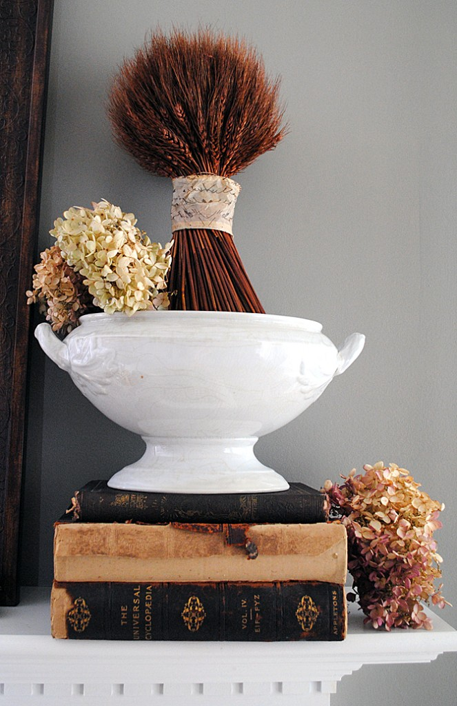 Wheat in ironstone, part of / A vintage inspired fall mantel, by The Graphics Fairy, featured on https://www.funkyjunkinteriors.net/