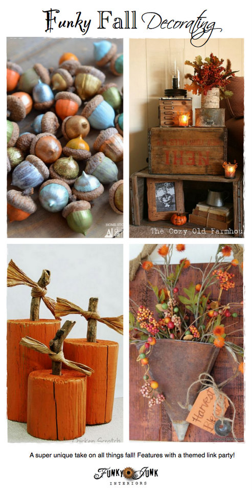 Funky Fall Decorating - a super unique twist to fall decor with features and a themed link party! via http://www.funkyjunkinteriors.net/