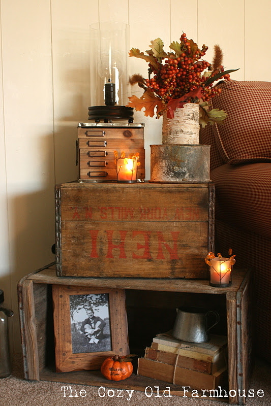 Fall inspired rustic stacked crates by The Old Farmhouse featured on http://www.funkyjunkinteriors.net