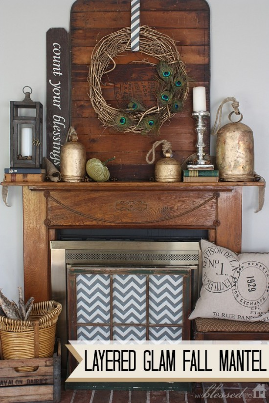 Layered Glam Fall Mantel by My Blessed Life, featured on https://www.funkyjunkinteriors.net/