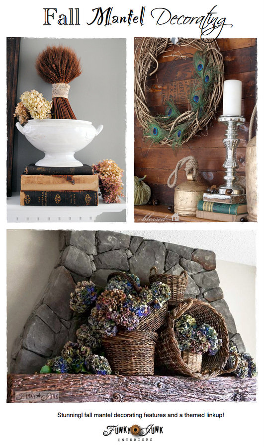 Fall mantel decorating - amazing mantel features with a blogger's themed link party via https://www.funkyjunkinteriors.net/