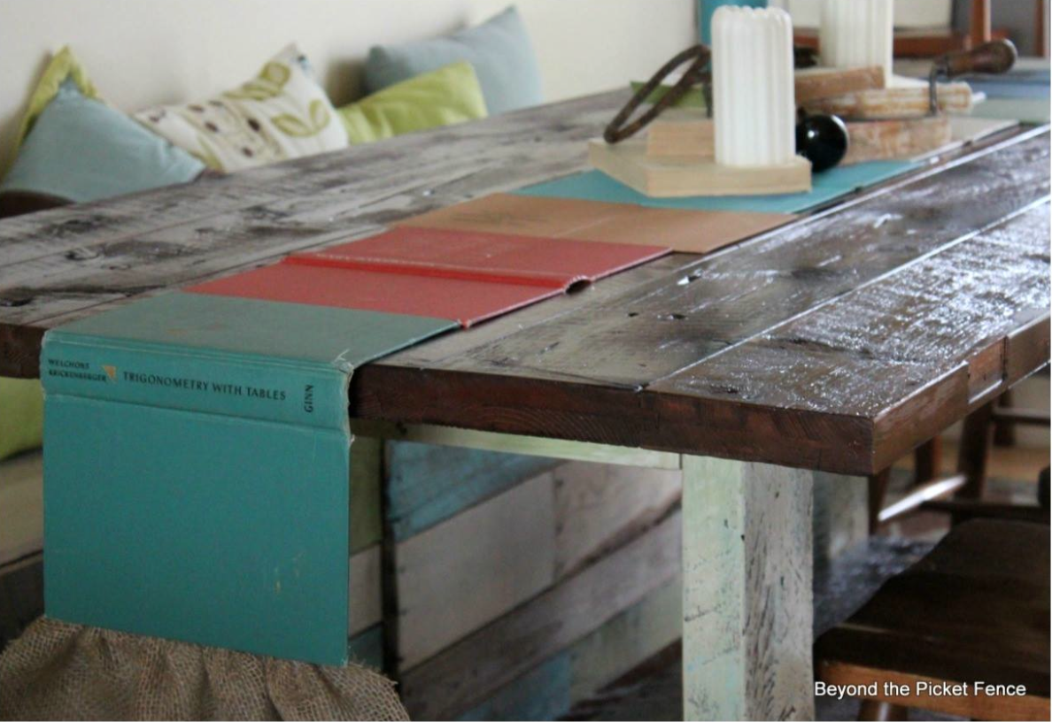 Book page table runner by Beyond the Picket Fence featured on Funky Junk Interiors
