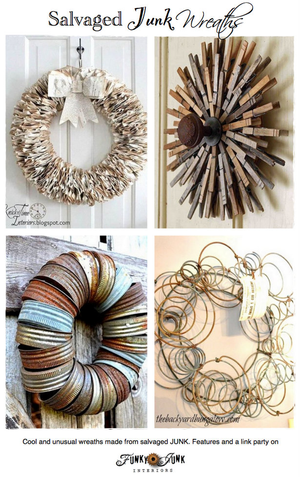 Salvaged Junk Wreaths - cool and unusual wreaths made from salvaged junk! Features and a link party via https://www.funkyjunkinteriors.net/