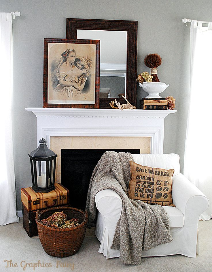 A vintage inspired fall mantel, by The Graphics Fairy, featured on https://www.funkyjunkinteriors.net/
