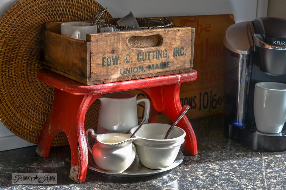 Little red bench kitchen coffee station via https://www.funkyjunkinteriors.net/