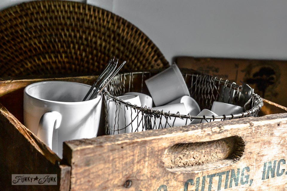 Old crate and fry basket to hold k cups, part of  / part of The junky little red bench and crate coffee station via https://www.funkyjunkinteriors.net/