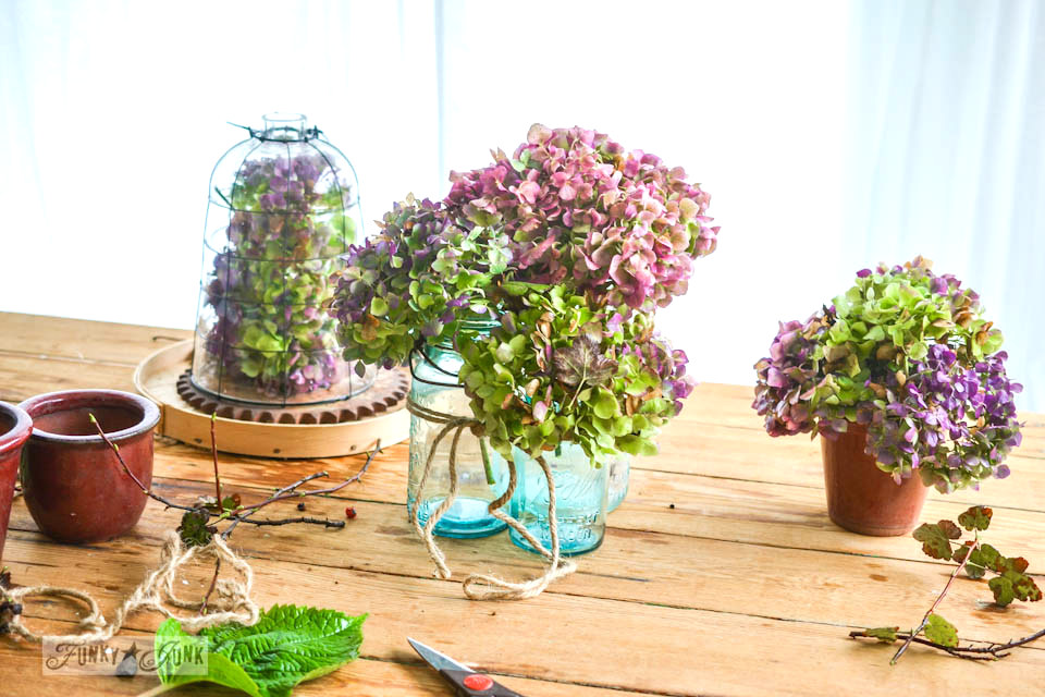 Hydrangea centrepieces or vignettes  / part of Playing with fall hydrangeas and a (very) blue chair via https://www.funkyjunkinteriors.net/
