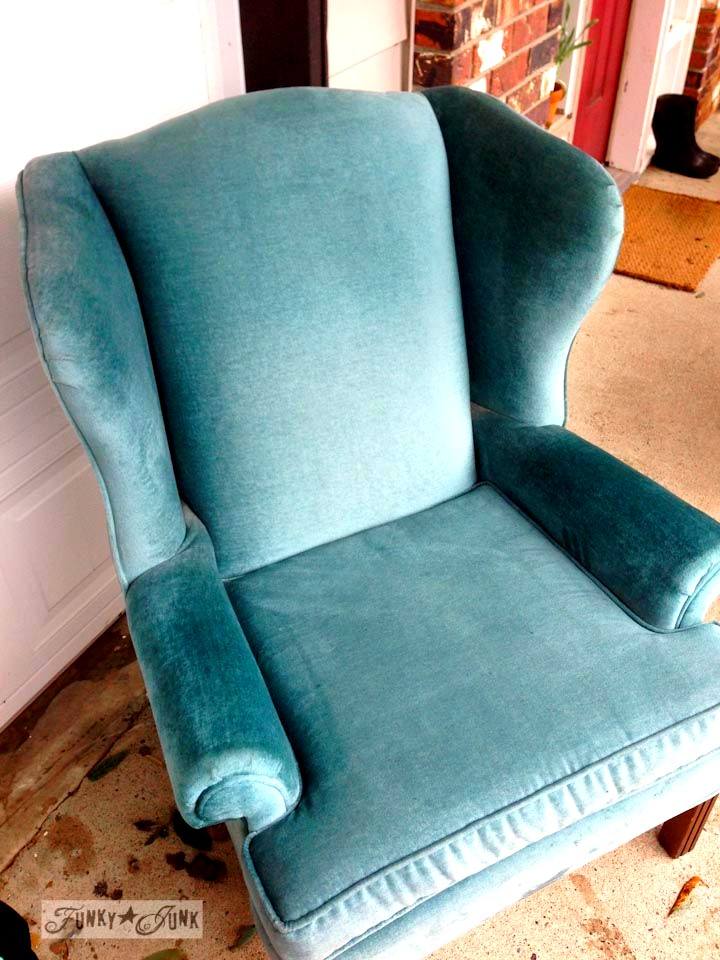 An aqua wing backed chair  / part of Playing with fall hydrangeas and a (very) blue chair via https://www.funkyjunkinteriors.net/