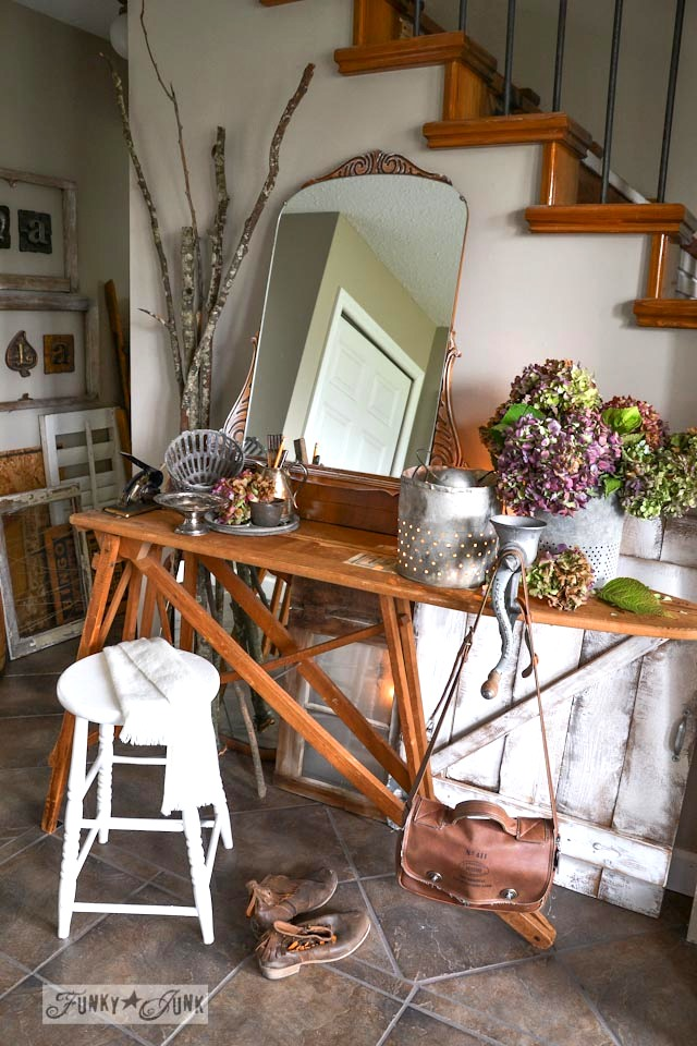 Old window and gate styled wainscotting  / Fall junkers unite with an ironing board table, a pin board and a linkup! via https://www.funkyjunkinteriors.net/