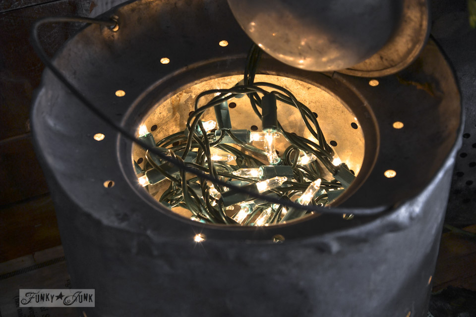 Illuminated minnow buckets  / Fall junkers unite with an ironing board table, a pin board and a linkup! via https://www.funkyjunkinteriors.net/